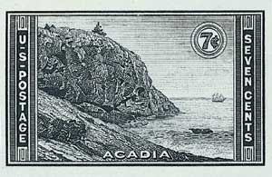 1935 7c National Parks: Acadia, imperf, no gum