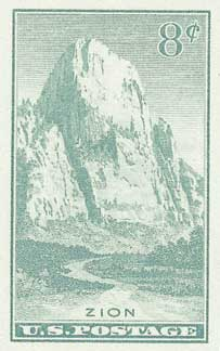1935 8c National Parks: Zion, imperf, no gum