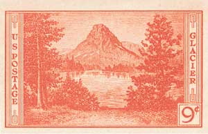 1935 9c National Parks: Glacier National Park, imperf, no gum