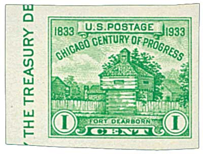 1935 1c Restoration of Fort Dearborn, single stamp