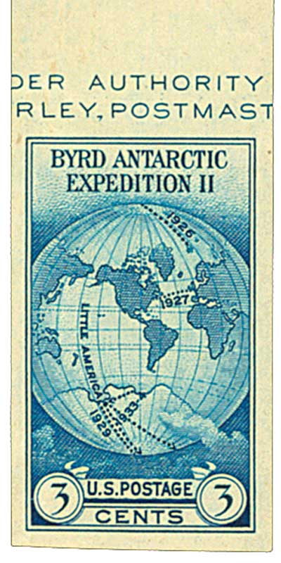 1935 3c Byrd Expedition, no gum, imperf single