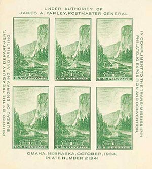 1935 1c National Parks: Yosemite, souvenir sheet