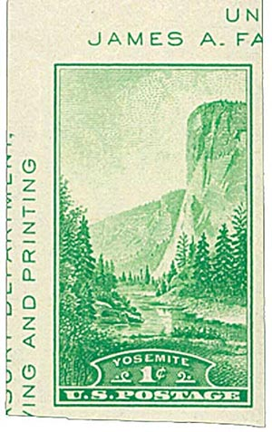 1935 1c Yosemite, no gum, imperf single