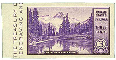 1935 3c Mt. Rainier, no gum, imperf single