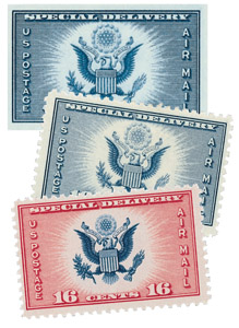 US Special Delivery, collection of 3 stamps