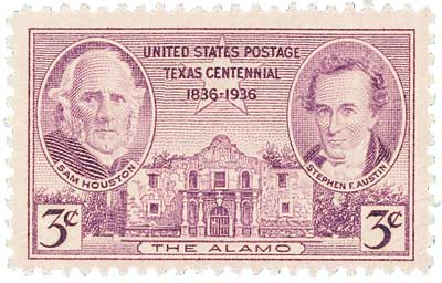 U.S. #776 pictures Stephen F. Austin, Sam Houston, and the Alamo.