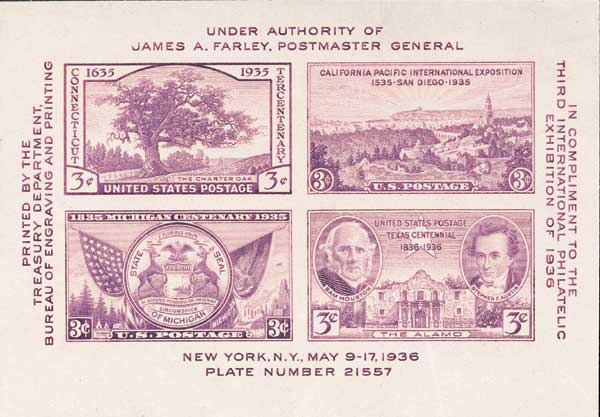1936 3c Third International Philatelic Exposition, souvenir sheet