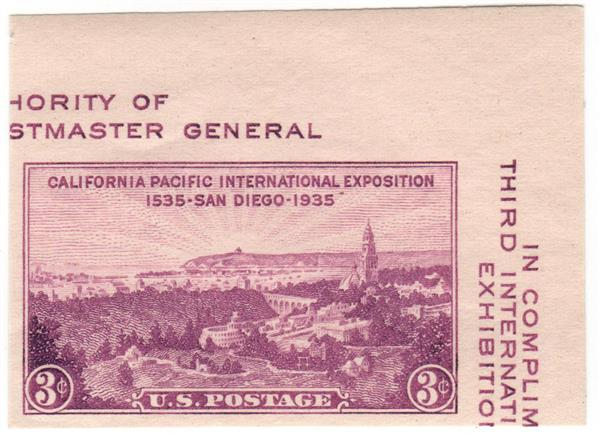1936 3c California Pacific International Exposition, imperf single