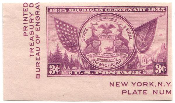 1936 3c Michigan Centenary, imperf single