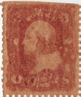 1864 3c rose perforated on gold beaters