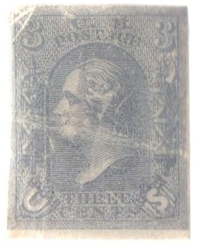 1867 3c Plate on clear white paper, imp