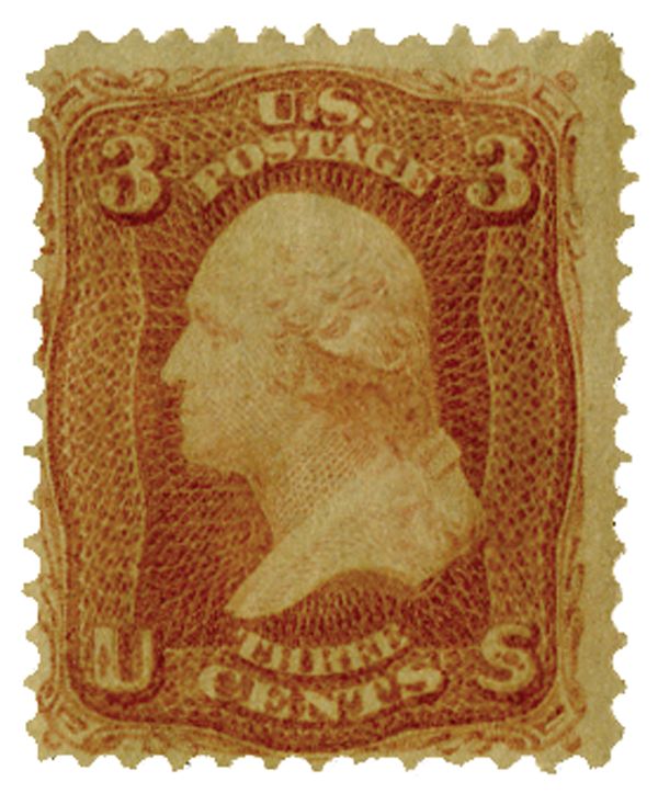 1867 3c Washington, rose 'A' grill