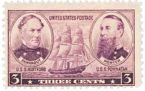 1937 3c Army and Navy: Farragut and Porter
