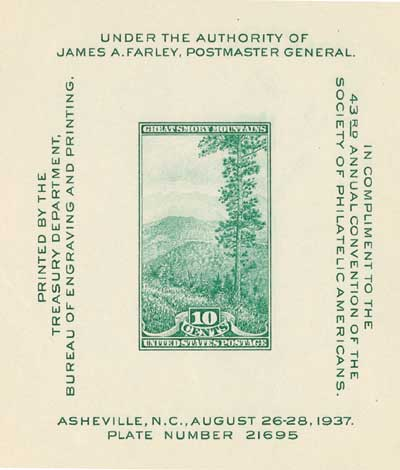 1937 10c Society of Philatelic Americans Convention, souvenir sheet