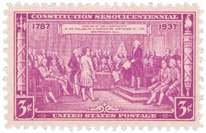 U.S. #798 was based on a painting by Julius Brutus Stearns of the signing of the Constitution.