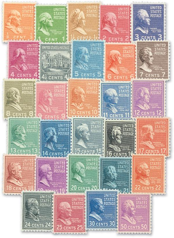 1938 Presidents, collection of 29 stamps