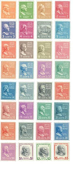 1938 Presidents, collection of 32 stamps