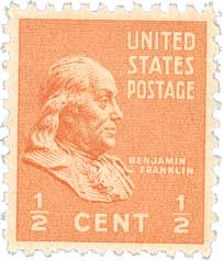 1938 1/2c Franklin, orange