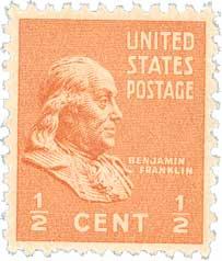 1938 1/2c Franklin, orange