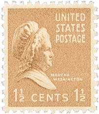 1938 1 1/2c Martha Washington, brown