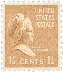 1938 1 1/2c Martha Washington, brown
