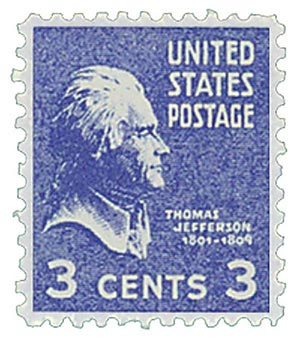 1938 #807 Jefferson, Perforated Counterfeit
