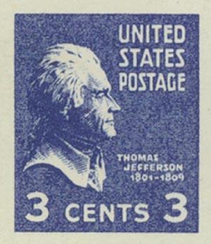 1938 #807 Jefferson, M Imperf, Counterfeit