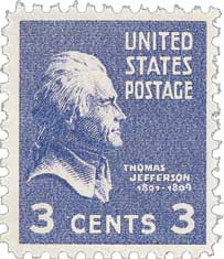 1938 3c Jefferson, purple