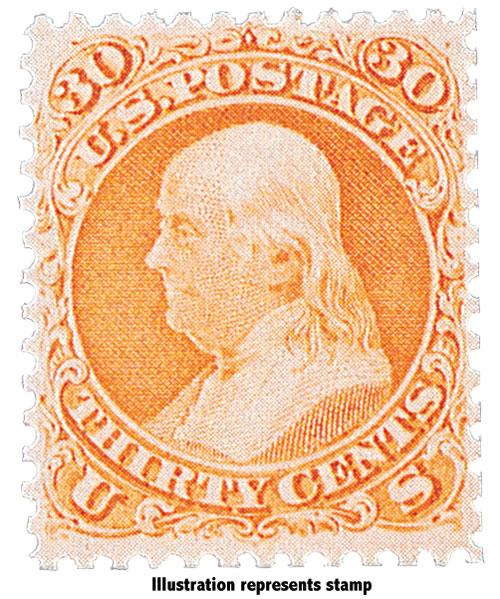 "1867 30c Franklin, orange,  ""A"" grill"