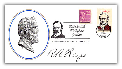 Item #81106B – Commemorative cover with two Hayes stamps.