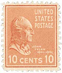 1938 10c John Tyler, brown red