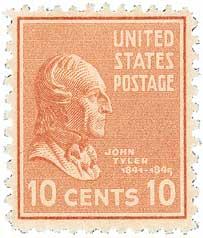 1938 10c John Tyler, brown red