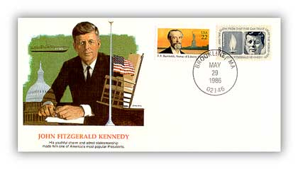 1986 JFK Commemorative Cover - Shapers of Liberty