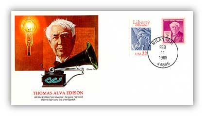 1989 Thomas Edison Commemorative Cover