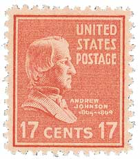 1938 17c Andrew Johnson, rose red