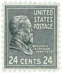 1938 24c Benjamin Harrison, gray black