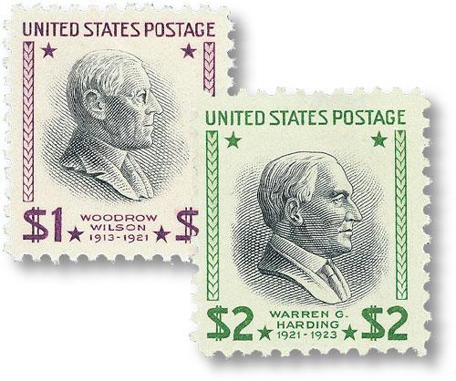 1938 $1 W. Wilson, gray/rose, & $2 W. Harding