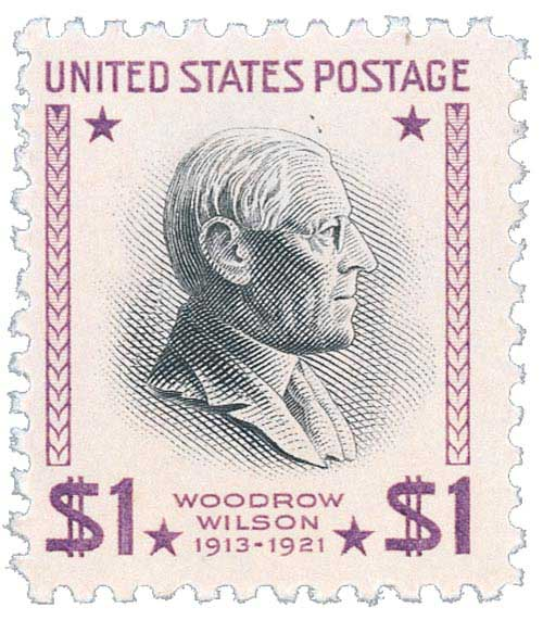 1954 $1 Woodrow Wilson, red violet and black