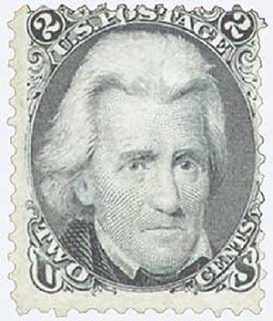 1868 2c Jackson, black, 'D' grill