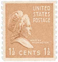 1939 1 1/2c Martha Washington, brown