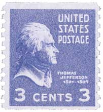 1939 3c Jefferson, deep violet