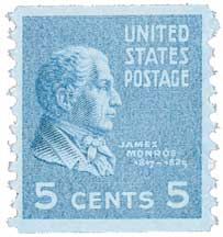 1939 5c James Monroe, bright blue