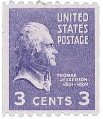 1939 3c Thomas Jefferson, purple