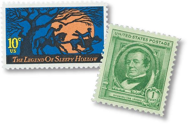 1940 1c Washington Irving and 1974 10c Legend of Sleepy Hollow singles