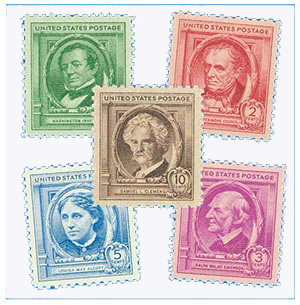 1940 American Authors, collection of 5 stamps