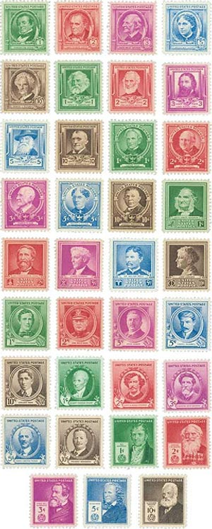 1940 Famous Americans, collection of 35 stamps