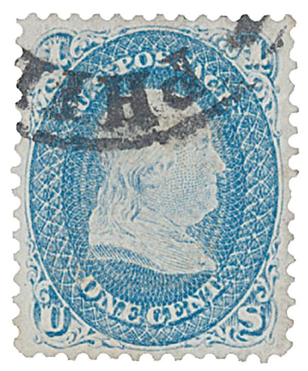 "1867 1c Franklin, blue, ""Z"" grill"