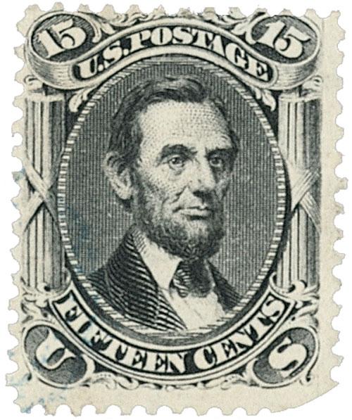 "1867 15c Lincoln, black, ""Z"" grill"