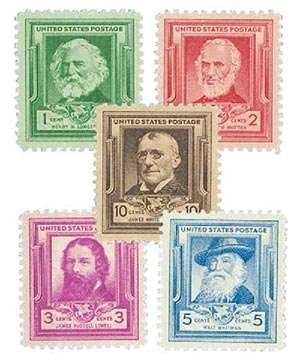 1940 American Poets, collection of 5 stamps