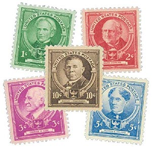 1940 American Educators, collection of 5 stamps